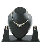 American Diamond Gold Finish Necklace For Girls