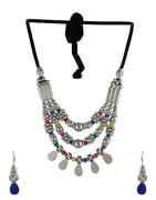 Multi Colour Silver Finish Black Dora Fancy Layered Necklace