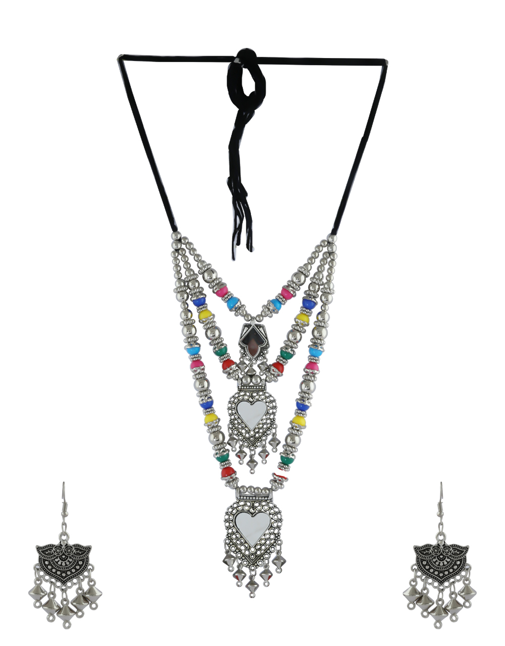 Multi Colour Fancy Silver Oxidised Finish Layered Necklace