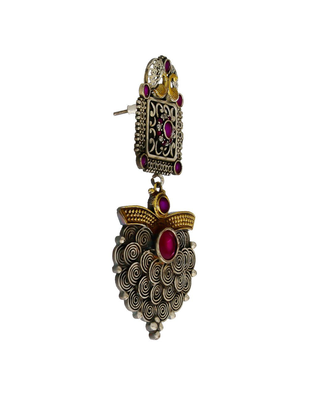 Pink Colour Fancy Oxidized Finish Stylish Earrings For Girl