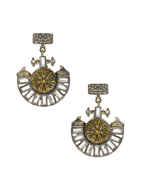 Fancy Oxidised Gold Finish Simple Silver Earrings