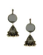 Oxidised Finish Simple Studded With Stones Fancy Earrings