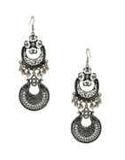 Designer Oxidised Finish Fancy Long Earring For Girls