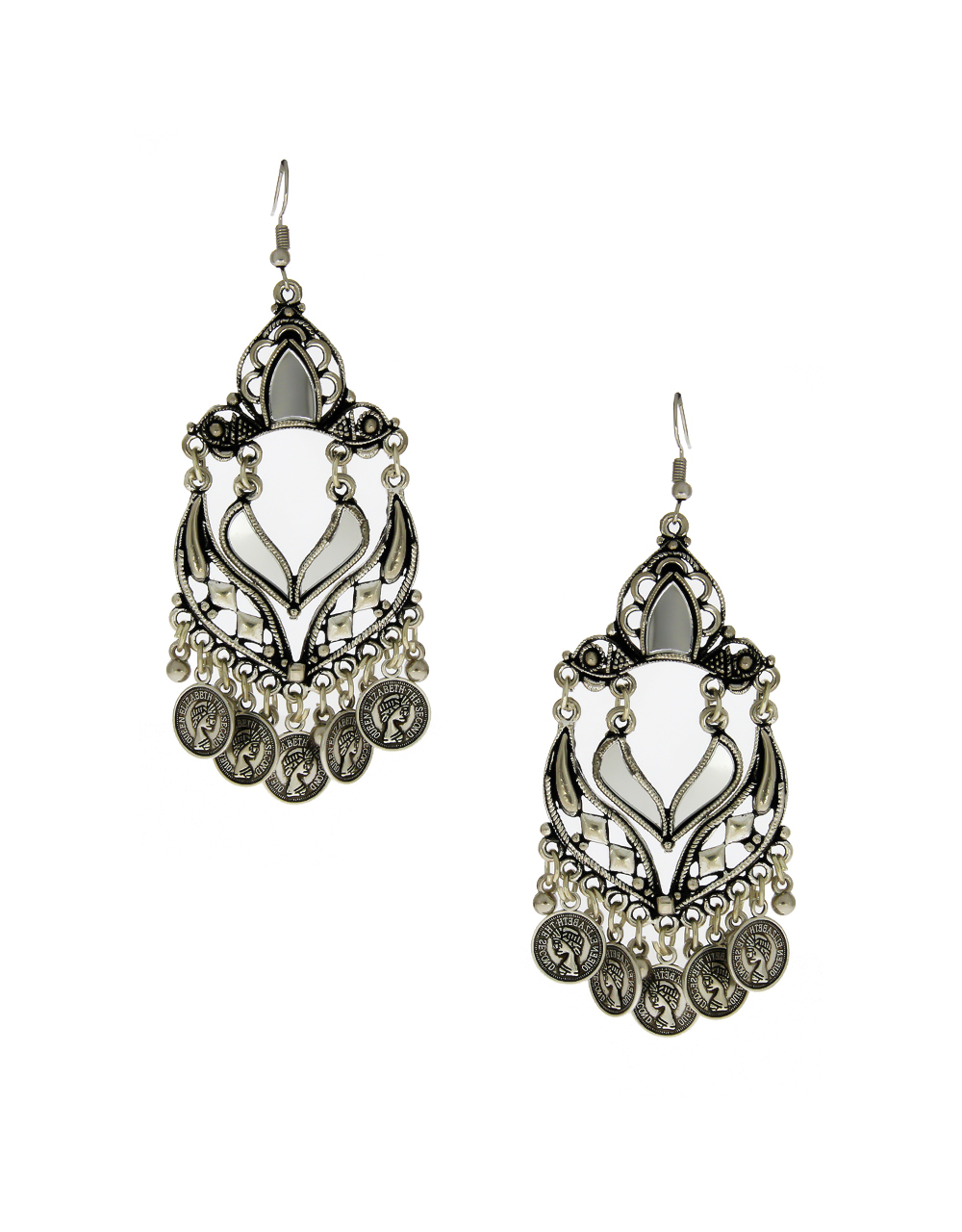 Adorable Oxidized Finish Styled With Coin Earrings For Girls