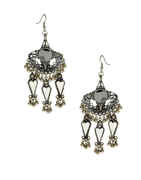Fancy Oxidised Finish Styled With Glass Stone Earrings