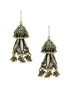 Fancy Oxidised Finish Styled With Ghungroo Beads Earrings