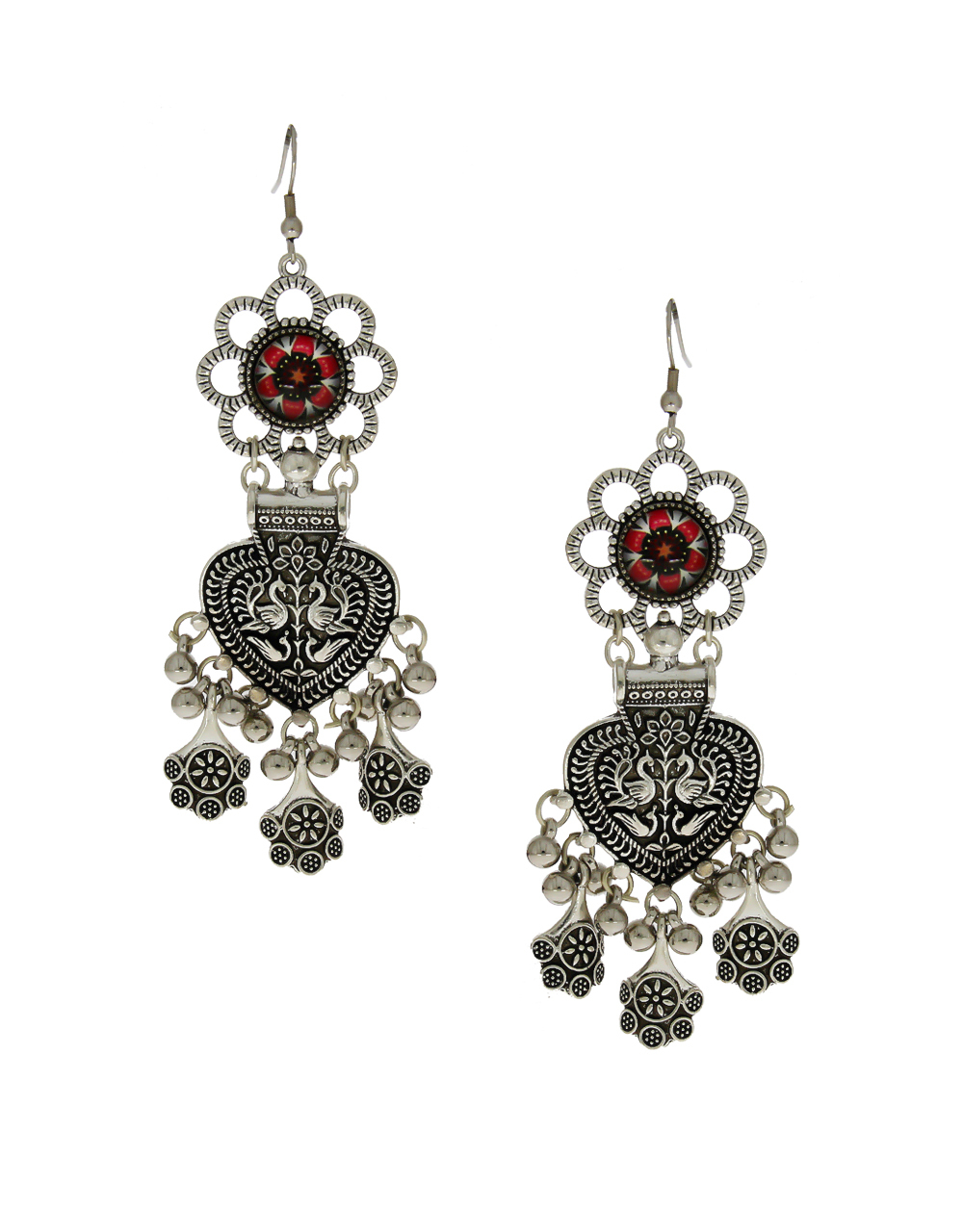 Floral Design Red Colour Simple Oxidised Earrings