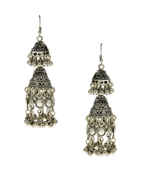 Floral Design Oxidised Finish Fashionable Earrings