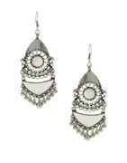 Fancy Oxidised Finish Glass Stone Earrings For Girls