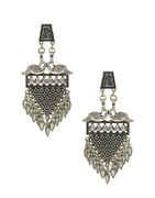 Peacock Design Oxidised Garbha Navratri Earrings