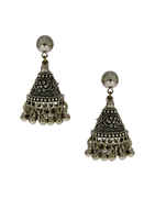 Simple Oxidised Finish Jhoomkaa Earrings For Girls