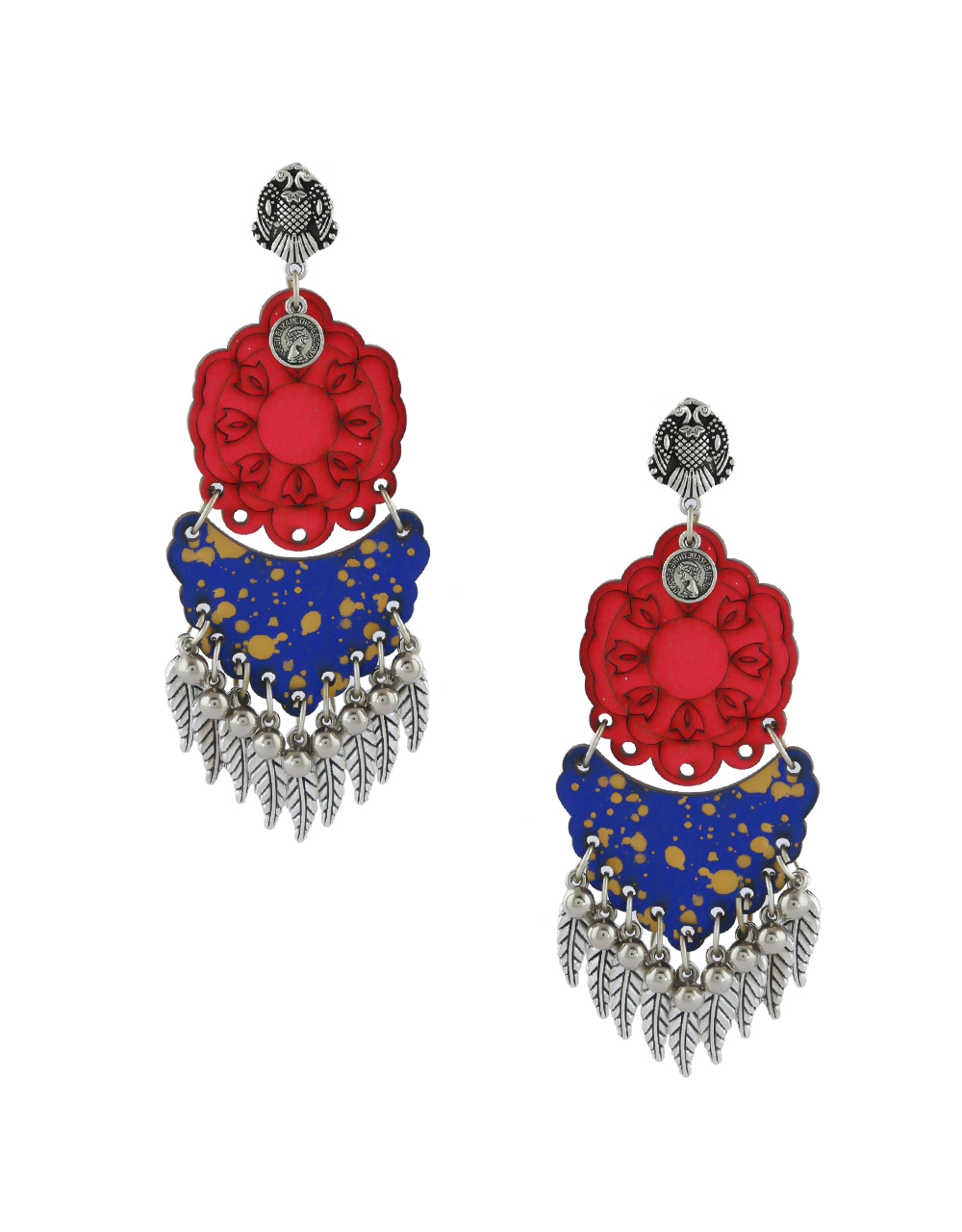 Red-Blue Colour Oxidised Leafy Design Earring