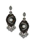 Silver Finish Oxidised Wooden Earrings Fancy Wear For Girls