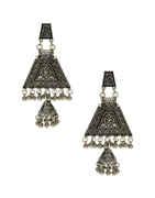 Very Classy Silver Oxidised Finish Jhumkaa Earrings Fancy