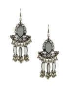 Fancy Silver Finish Glass Stone Earrings For Navratri Wear