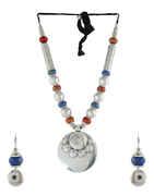 Round Shape Silver Finish Beads Necklace For Garbha