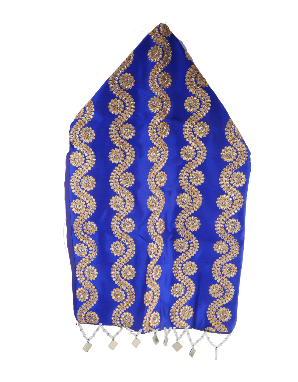 Blue Colour Styled With Beads Gujarathi Topi For Girls