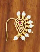 Gold Finish Styled With Pearls Beads Maharashtrian Nath