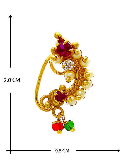 Traditional Gold Finish Pink Colour Nath For Girls