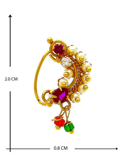 Antique Gold Finish Pink Colour Nath For Women