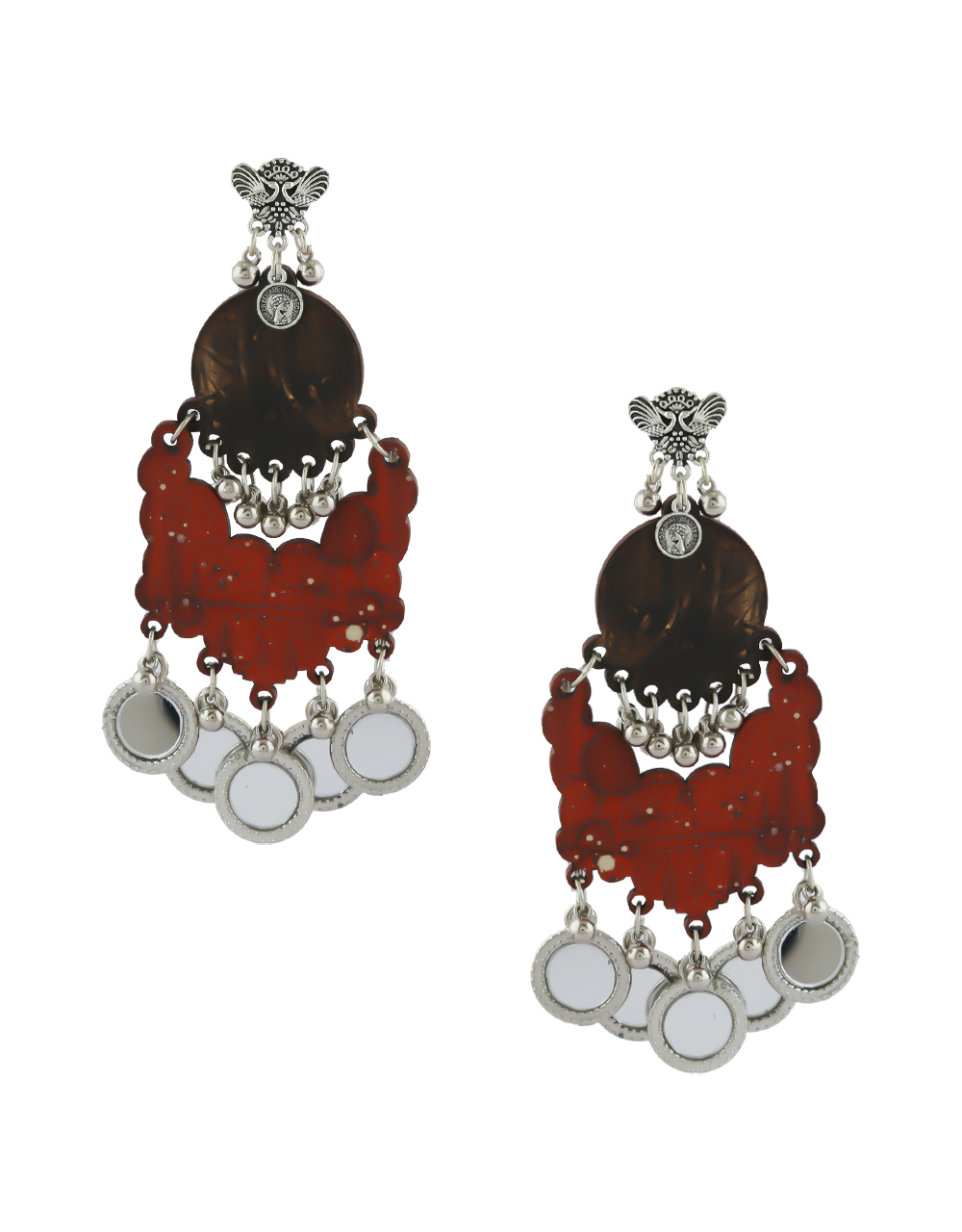 Red Colour Silver Finish Beads Styled Oxidised Earrings For Girls