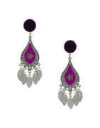 Purple Colour Silver Finish Long Earrings For Women Dandiya