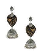 Silver Oxidised Finish Wooden Earring For Dandiya For Women