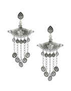 Floral Design Oxidised Silver Finish Fancy Layered Earrings