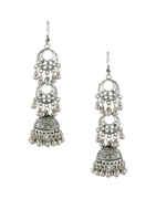Oxidised Silver Finish Fancy Jhumkaa Designer For Girls