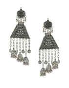 Fashionable Silver Oxidised Finish Jhoomkaa Earrings