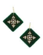 Green Colour Gold Finish Stunning Earrings