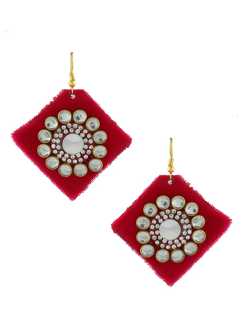 Rani Colour Gold Finish Studded With Stones Earrings Trendy