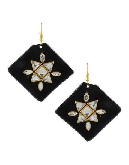 Black Colour Velvet Earring Fancy For Girls