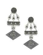 Oxidised Silver Finish Designer Earrings For Girls