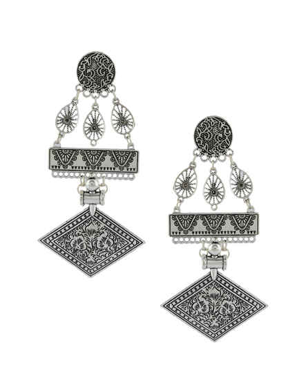 Oxidised Silver Finish Designer Earrings For Girls