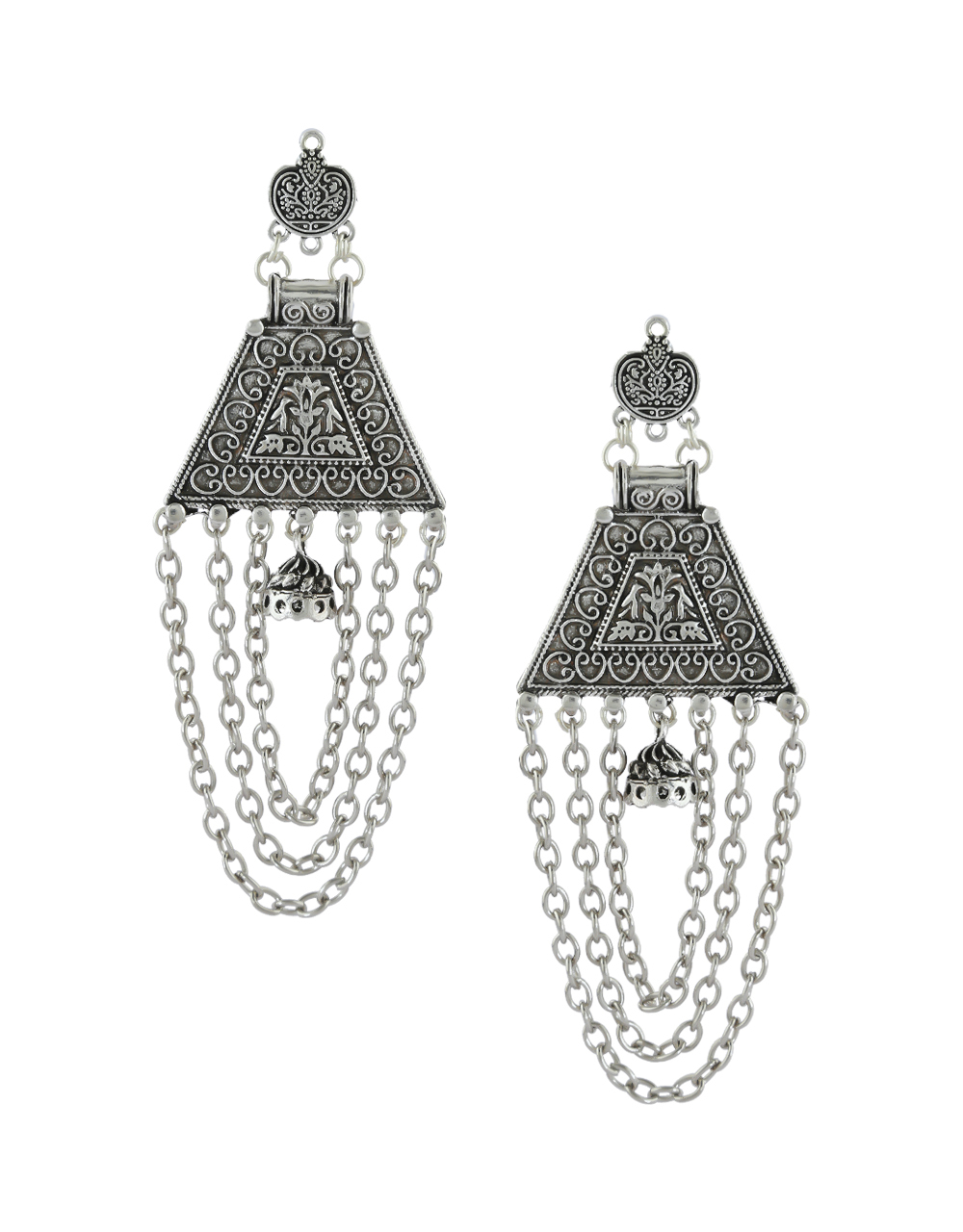 Unique Design Silver Oxidised Finish Layered Earrings