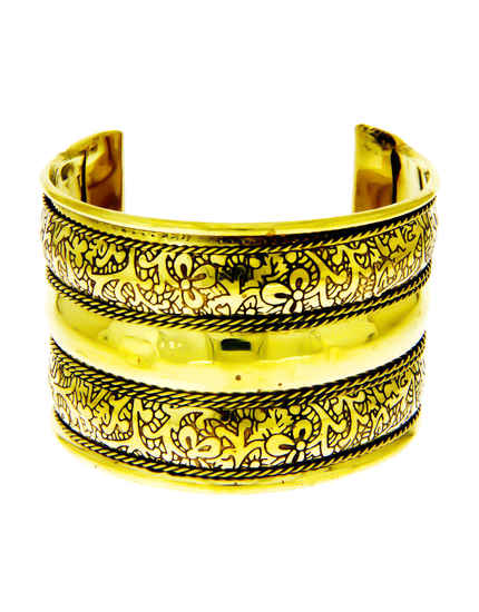 Floral Design Fancy Gold Finish Wrist Bracelets For Dandiya
