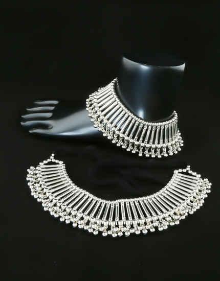 Silver Oxidised Finish Payal For Navratri Wear