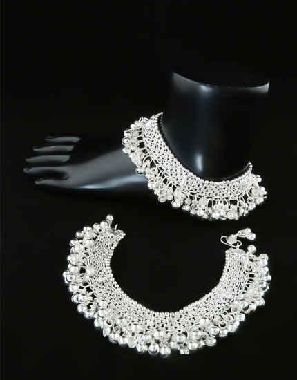 Adjustable Silver Finish Dandiya Navratri Payal Jewellery