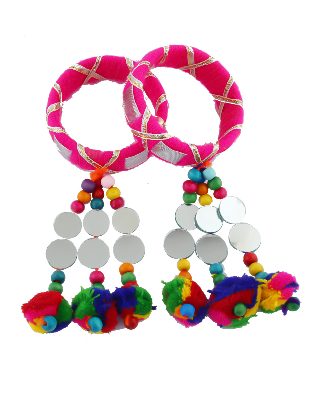 Pink Colour Styled With Beads Bangles