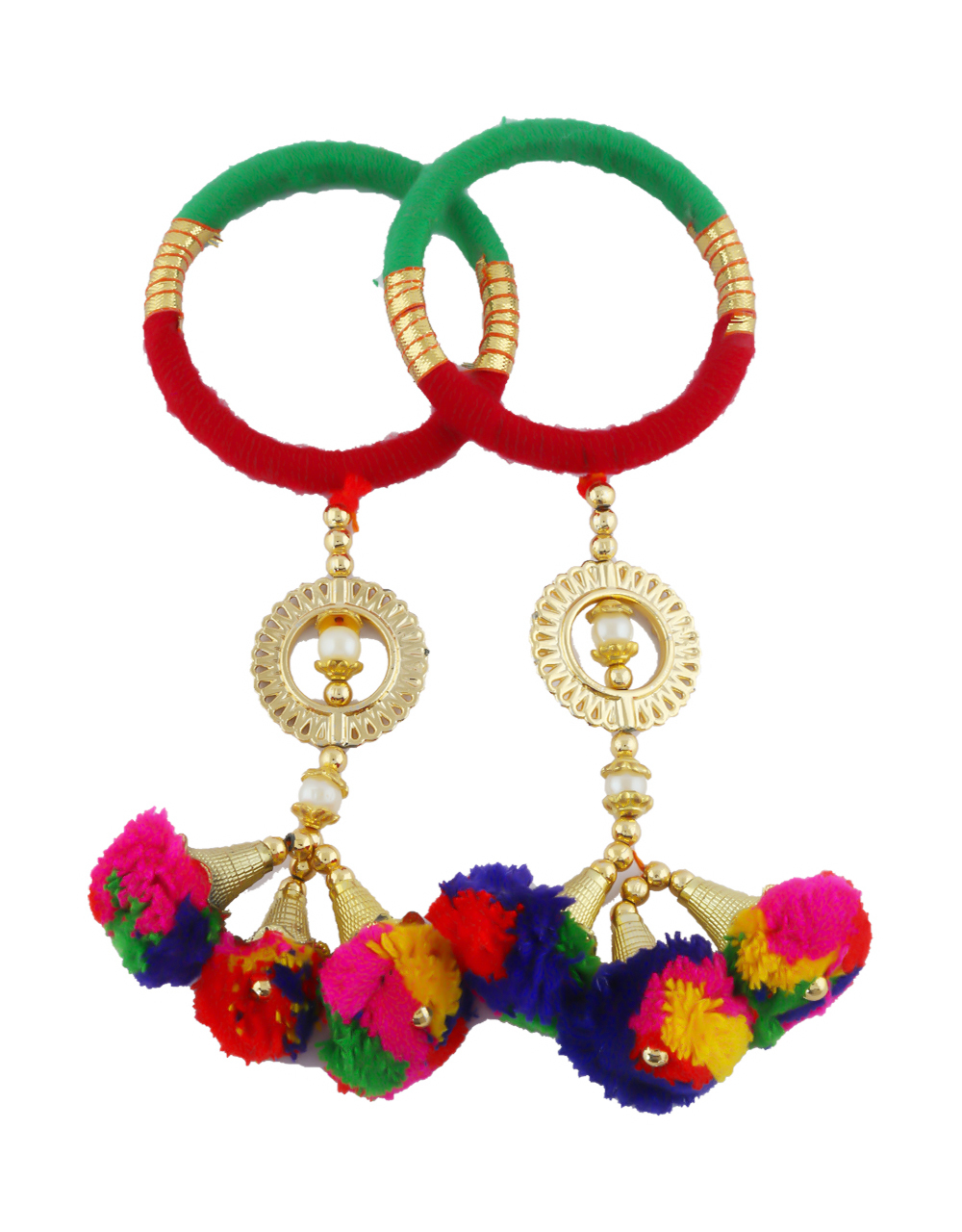 Yellow-Purple Colour Styled With Hanging Pom Pom Jewellery