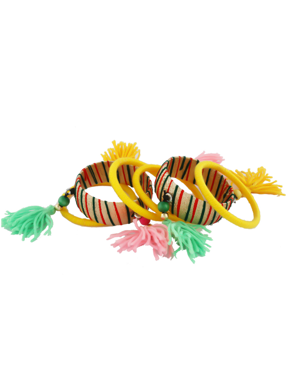 Multi Colour Bangles Styled With Thread Bangles