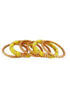 Yellow Colour Fancy Thread Bangles Jewellery