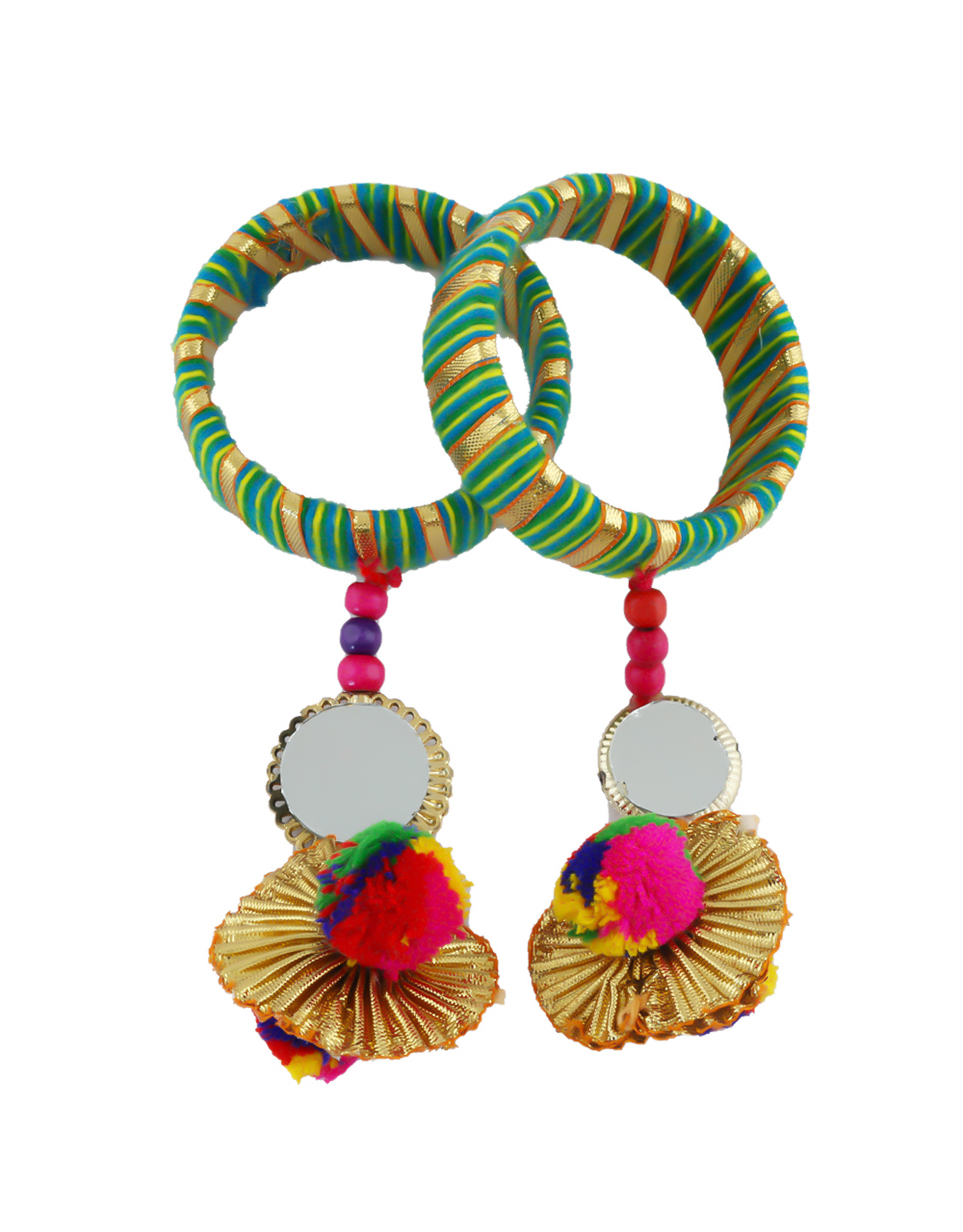 Green Colour Styled With Beads Fancy Thread Bangles