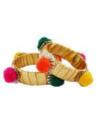 Gold Finish Multi Colour Thread Bangles