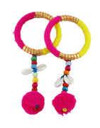 Pink-Yellow Colour Styled With Kawadi Bangles