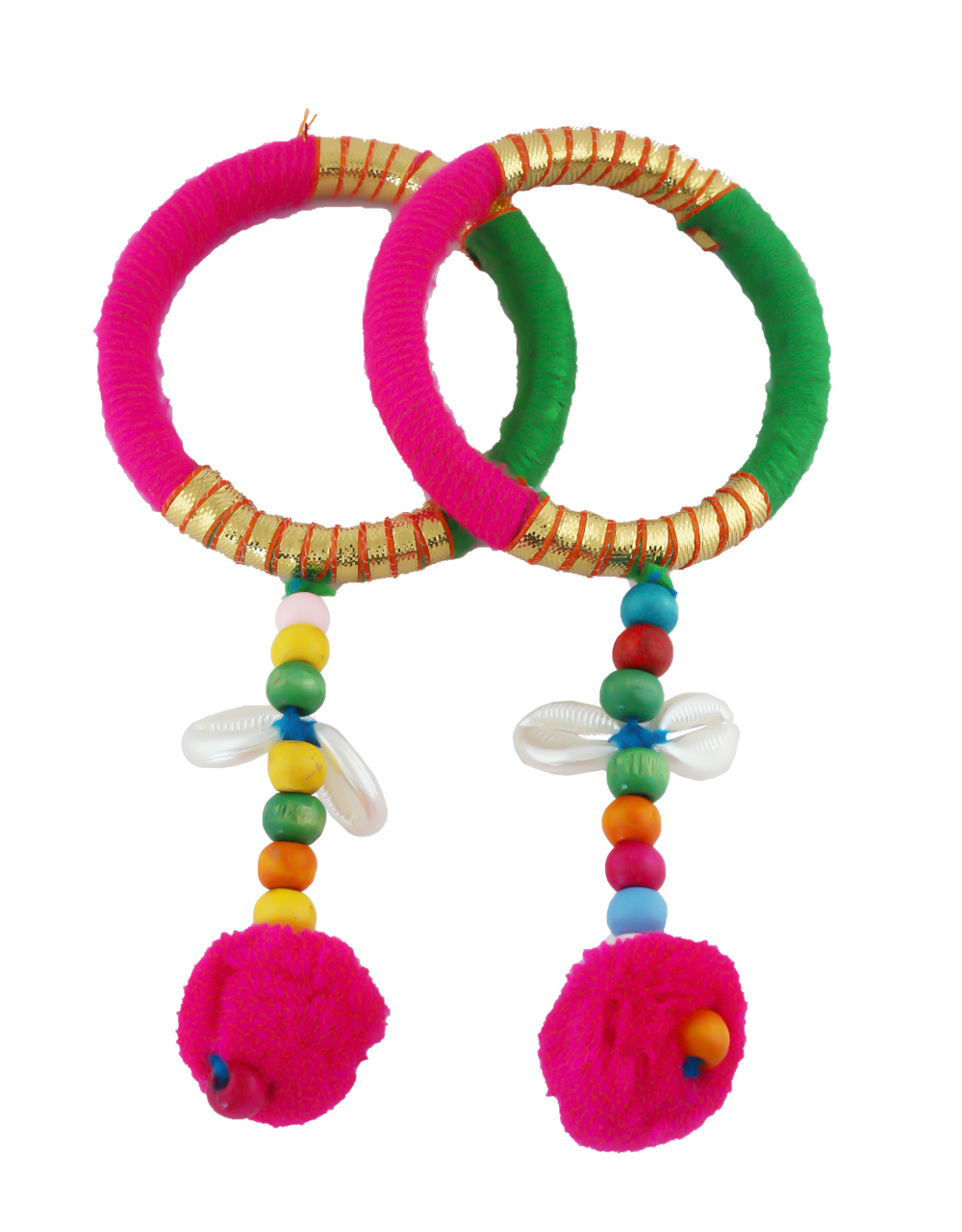Multi Colour Styled With Beads Pom Pom Bangles