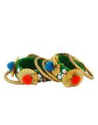 Green Colour Fancy Bangles Jewellery Set