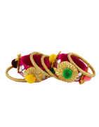 Pink Colour Designer Bangles Jewellery Set