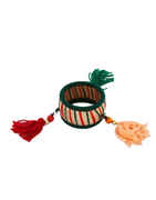 Green Colour Thread Bangles Jewellery Set